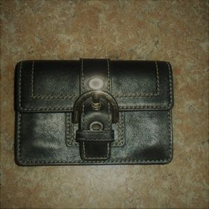 Coach Buckle Wallet Black Leather Very Good Shape!